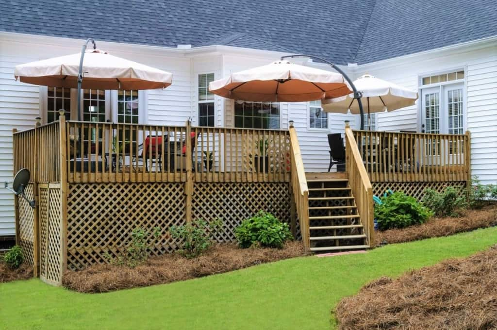 backyard deck with skirting